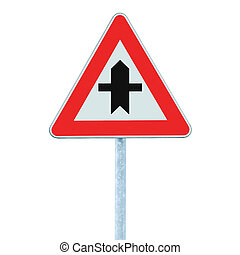 Crossroads Warning Main Road Sign With Pole, isolated