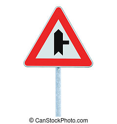 Crossroads Warning Main Road Sign With Pole, Right, isolated