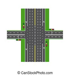 Crossroads. With the help of traffic lights. Road interchange. Lawns. View from above. illustration