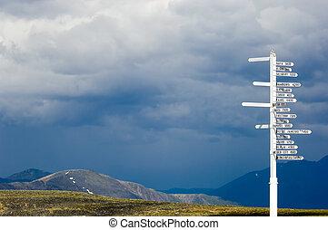 Crossroads - World cities signpost, Keno, Yukon
