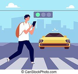 Crosswalk accident. Pedestrian walk crossing street, traffic danger. Man with smartphone violates road rules. Attention vector illustration