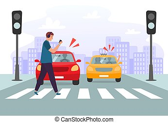 Crosswalk accident. Pedestrian with smartphone and headphones crossing road on red traffic lights, road safety vector illustration