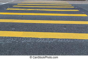 crosswalk, amarillo, asfalto