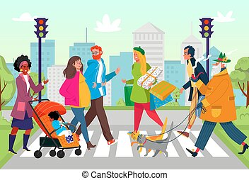 Crosswalk city road at street, vector illustration. Urban people near traffic light, flat pedestrian person character at cartoon town