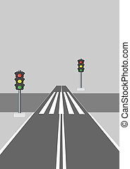 Crosswalk. - Adjustable, light signal, crosswalk, on a gray...