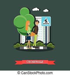 Crosswalk concept vector illustration, flat design.