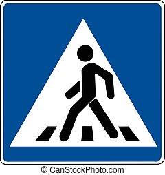 crosswalk - A crosswalk sign. A blue square road sign.