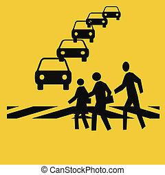 pedestrians in a crosswalk with traffic gold background