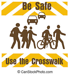 crosswalk safety sign pedestrians and traffic on white...