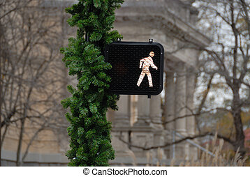 crosswalk signal with Christmas decoration in Athens Georgia