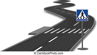 Crosswalk stripes on road. Vector illustration