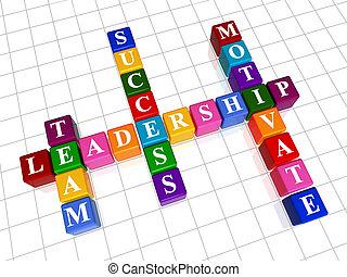 crossword 14 - 3d colour boxes crossword - leadership; team...