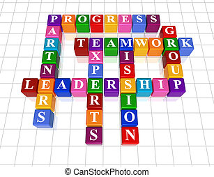 3d colour cubes with text - leadership, partners, teamwork, group, experts, progress, mission