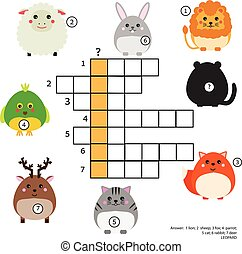 Crossword Educational Children Game With Answer Animals Theme Learning Vocabulary