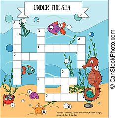 Crossword educational children game with answer. Sea, marine...