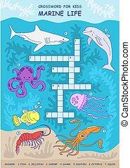Crossword for children. Sea life. Development of children. Shark, octopus, squid, dolphin, fish, shrimp, jellyfish.