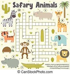 Crossword for kids with cute safari animals. Word search puzzle. Educational game with giraffe, zebra, tiger, lion, turtle, rhinoceros, hippopotamus, elephant, monkey, crocodile. Vector illustration