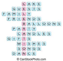 Crossword for the word celebration