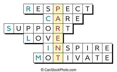 Crossword for the word Parent and words Respect, Care, ...