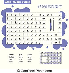 Crossword game for kids, word search puzzle with vocabulary andanswer