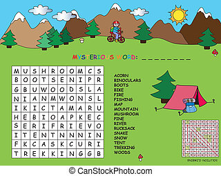 Illustration with game for children : crossword.