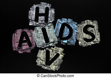 Crossword of HIV and AIDS - Crossword drawn with colorful...