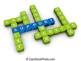Crossword of support - 3d render of crossword related to...