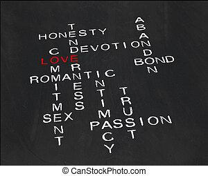 Crossword on the subject  love