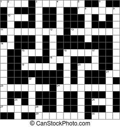 A blank symmetrical crossword puzzle.