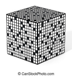 Crossword puzzle cube isolated on white background. 3D illustration