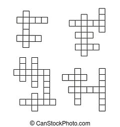 Crossword puzzle flat icons set. Vector crosswords template