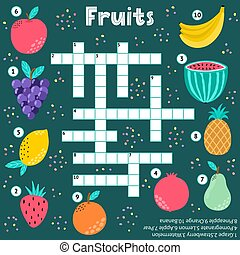 Crossword puzzle game of fruits for kids. Educational activity for school, preschool. Strawberry, apple, grape and other fruits. Vector illustration