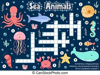 Crossword puzzle game of sea animals for kids. Underwater logical activity sheet for school and preschool. Colorful printable worksheet for children. Vector illustration