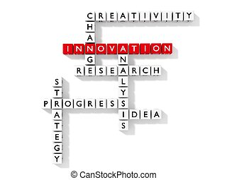Crossword puzzle with innovation keywords business concept...