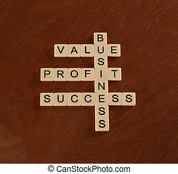 Crossword puzzle with words value, profit, business. Success in Business concept.