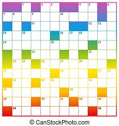 Crossword Rainbow Gradient Colored With Empty Boxes