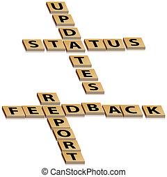 crossword, realimentação, relatório, estado, updates