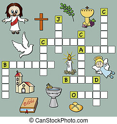 crossword religion - easy game for children: crossword