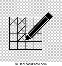 Crossword with pencil sign. Black icon on transparent background. Illustration.