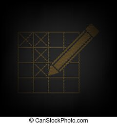 Crossword with pencil sign. Icon as grid of small orange light bulb in darkness. Illustration.