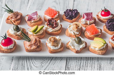 Crostini with different toppings