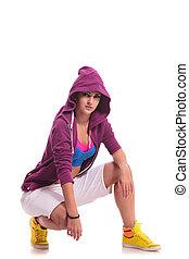 crouched hip hop woman dancer