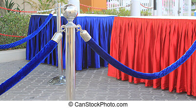 Croud control barriers - Crowd control barriers with blue...