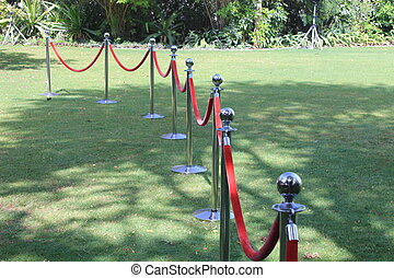 Croud control posts with red rope - Steel barrier security...