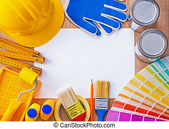 Croup repair and paint objects on clean sheet of paper construction concept