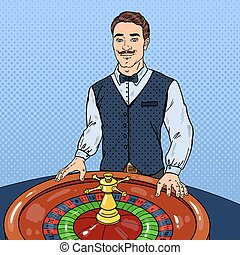Croupier Behind Roulette. Casino Gambling. Pop Art Vector illustration