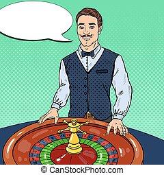 Croupier Behind Roulette Table. Casino Gambling. Pop Art Vector illustration