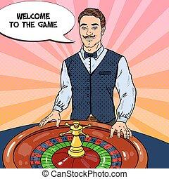 Croupier Behind Roulette Table. Casino Gambling. Pop Art Vector retro illustration
