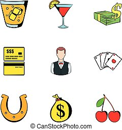 Croupier icons set, cartoon style