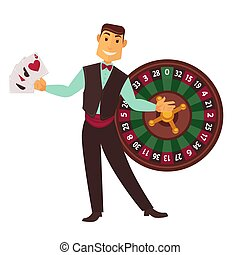 Croupier in work suit with play cards and roulette wheel -...